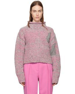 Pink Cropped Tweed Turtleneck