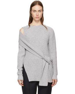 Grey Ribbed Cut-out Shoulder Pullover