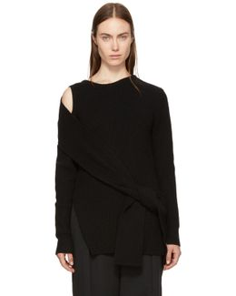 Black Ribbed Cut-out Shoulder Pullover