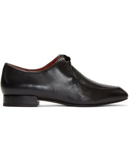 Black Square Lace-up Loafers