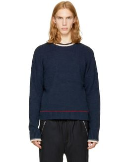 Navy Plaited Boxy Sweater