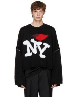Black Oversize 'i Love Ny' Sweater