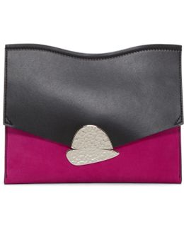 Pink & Black Medium Curl Clutch Bag