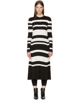 Black & Off-white Striped Knit Dress