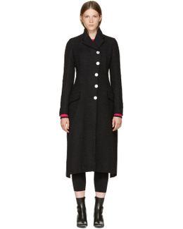 Black Asymmetric Back Tie Coat