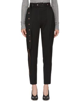 Black Wool Straight Trousers