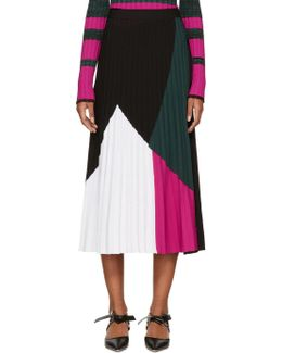 Multicolor Pleated Knit Skirt