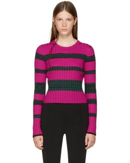 Pink & Green Striped Crewneck Pullover