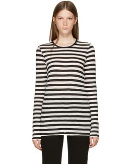 Black & Ecru Long Sleeve Striped T-shirt