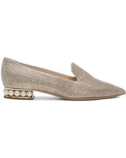 Gold Lurex Casati Pearl Loafers