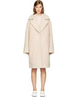 Beige Shaggy Faux-fur Coat