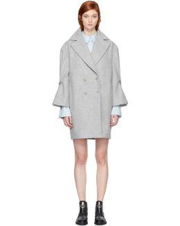 Grey Ruffle Sleeve Coat