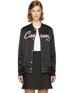 Black Teddy Varsity Jacket