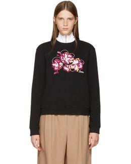 Black Embroidered Floral Sweatshirt