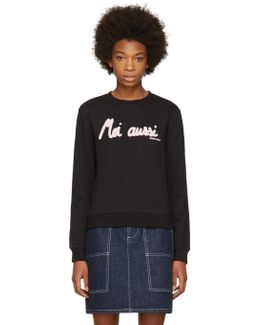 Black 'moi Aussi' Sweatshirt