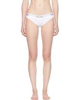 White Modern Cotton Bikini Briefs
