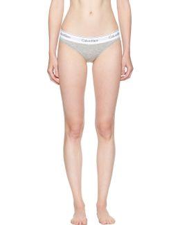 Grey Modern Cotton Bikini Briefs