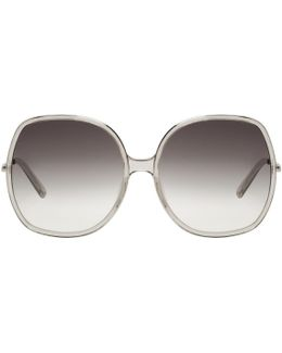 Silver & Grey Oversized Sunglasses