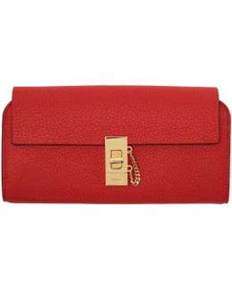 Red Long Drew Flap Wallet