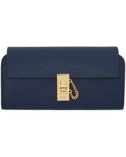 Navy Long Drew Flap Wallet