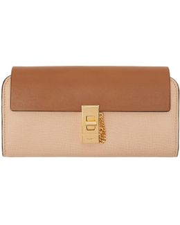 Beige Long Drew Flap Wallet