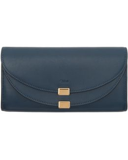 Blue Long Georgia Flap Wallet