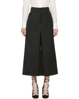 Black Crop Flare Trousers
