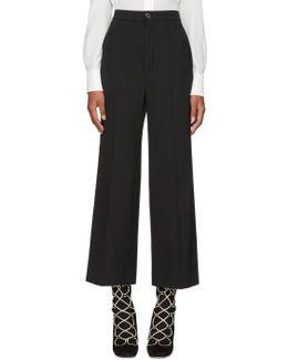 Black Classic Crop Flared Trousers