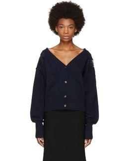 Navy Lace Shoulder Cardigan