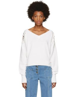 White Lace Shoulder V-neck Sweater