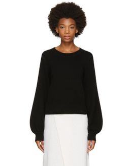 Black Cropped Bell Sleeve Sweater