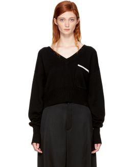Black Pocket V-neck Sweater