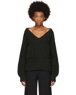 Green Oversized Pocket V-neck Sweater