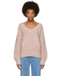 Pink Oversized Pocket V-neck Sweater