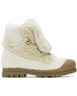 White Shearling Parker Boots