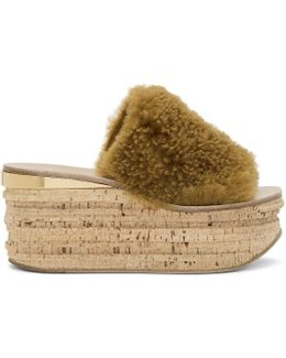 Brown Shearling Camille Sandals