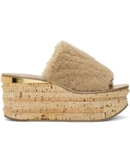 Beige Shearling Camille Sandals