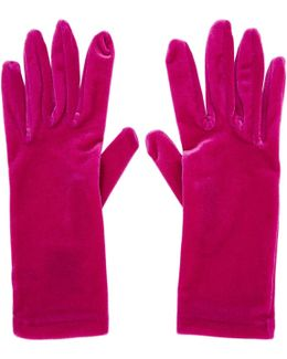 Pink Velour Panama Short Gloves