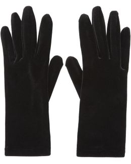 Black Velour Panama Short Gloves