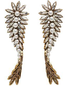 Gold & Crystal Laurier Twist Earrings