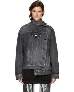 Black Denim Pulled Jacket