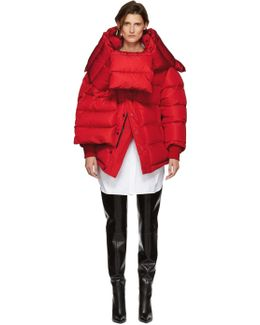 Red Down Swing Puffer Jacket