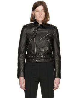 Black Leather Scarf Biker Jacket