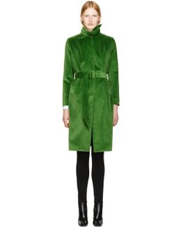 Green Velour Scarf Trench Coat