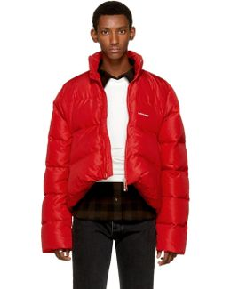 Red Quilted Down Ripstop Jacket