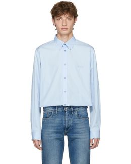 Blue Embroidered 'homme' Shirt