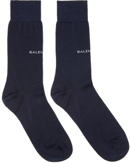 Navy Logo Socks