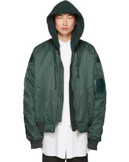 Green Hooded Bomber Jacket