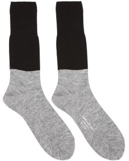 Black & Grey Colorblocked Jersey Socks