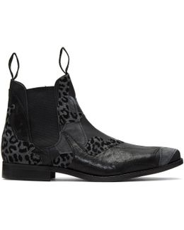 Black Leather Patchwork Chelsea Boots